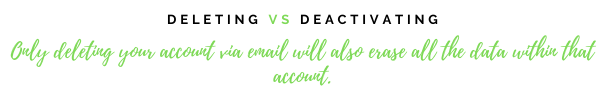 Deleting vs deactivating. Only deleting your account via email will also erase all the data within that account.