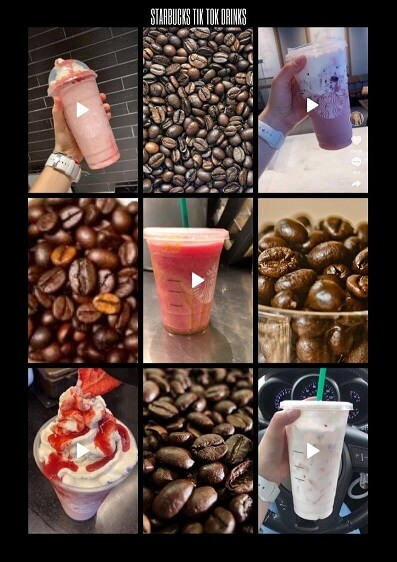 On this collage you can see 5 of most viral TikTok starbzcjs drinks