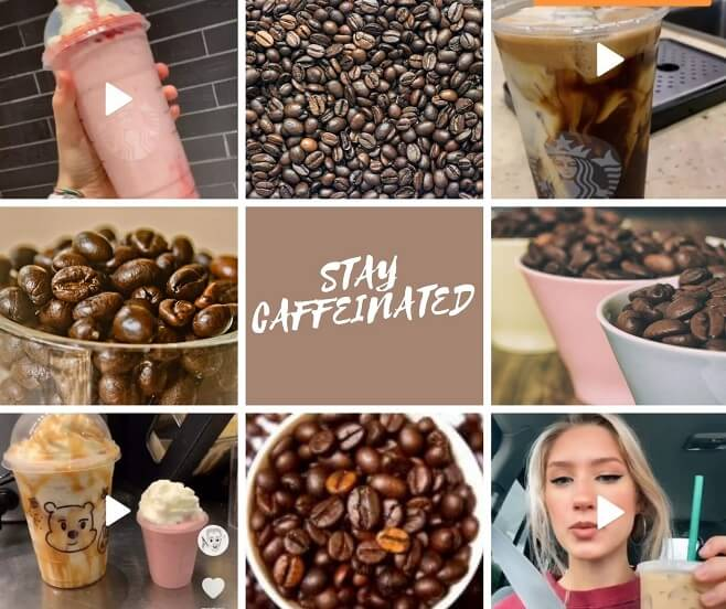 Collage of most famous starbucks drinks on tiktok
