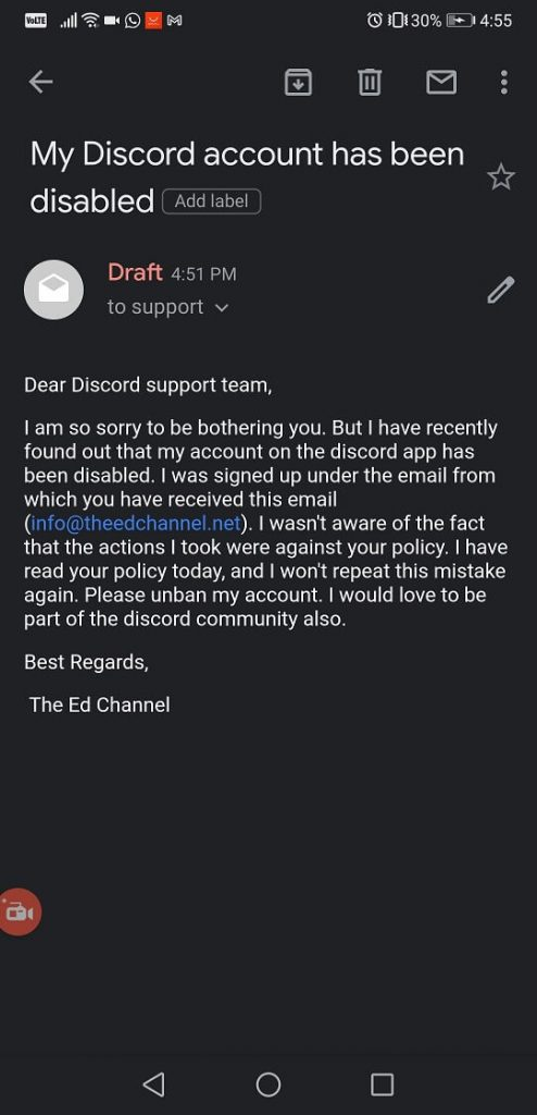 discord account disabled recovery tempalte email to get your account back