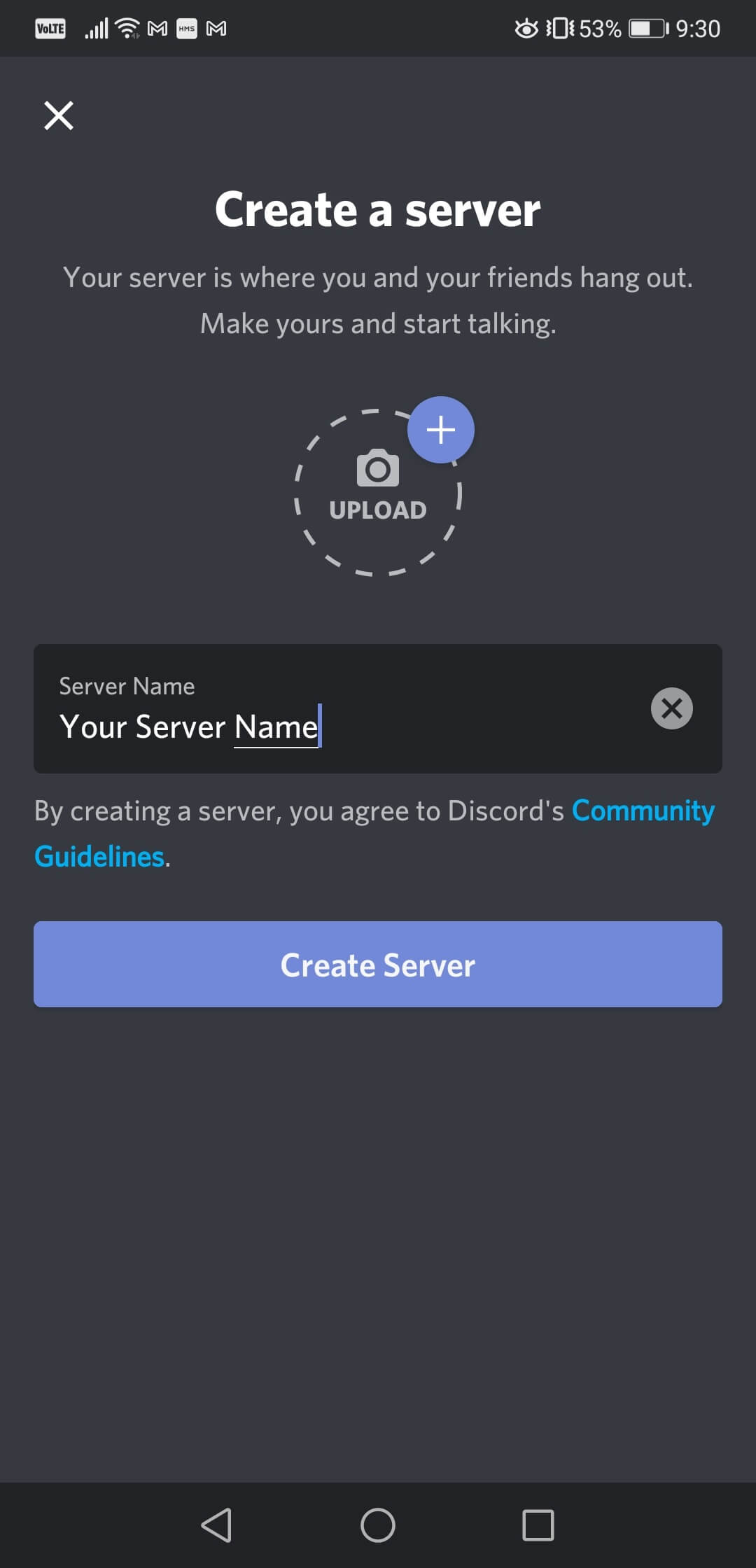 How to create a Discord server on a mobile phone 3