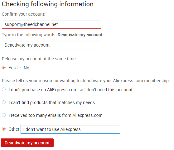 How to delete aliexpress account step 10