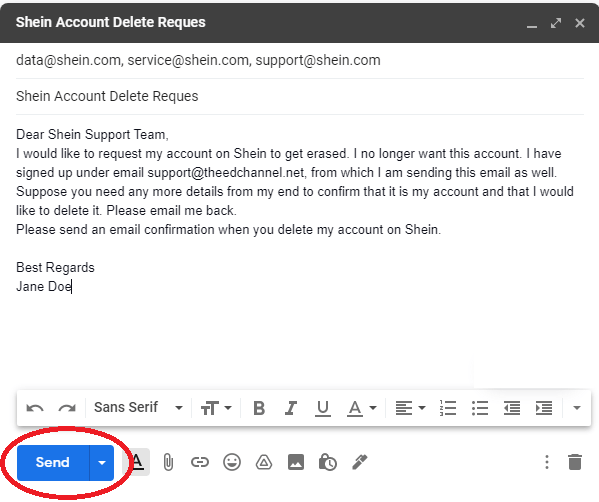 how to delete a shein account step 4